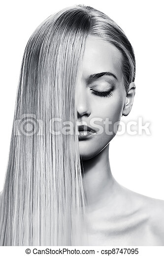 Beautiful Blonde Girl. Healthy Long Hair. BW Image - csp8747095