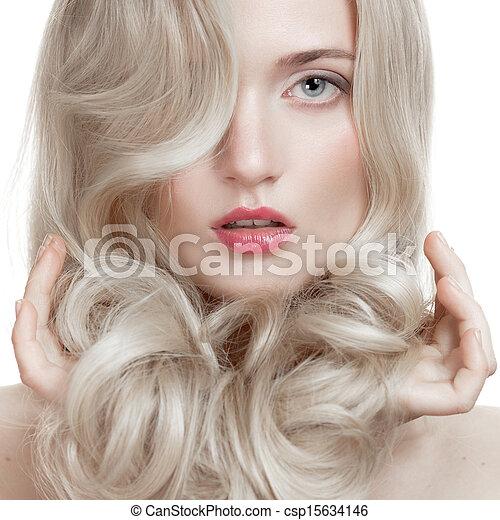 Beautiful Blonde Girl. Healthy Long Curly Hair.  - csp15634146