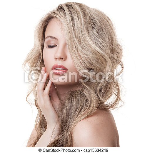 Beautiful Blonde Girl. Healthy Long Curly Hair.  - csp15634249