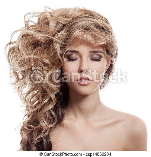 Beautiful Blonde Girl. Healthy Long Curly Hair. - csp14860204