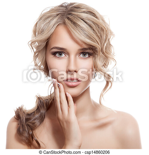 Beautiful Blonde Girl. Healthy Long Curly Hair.  - csp14860206