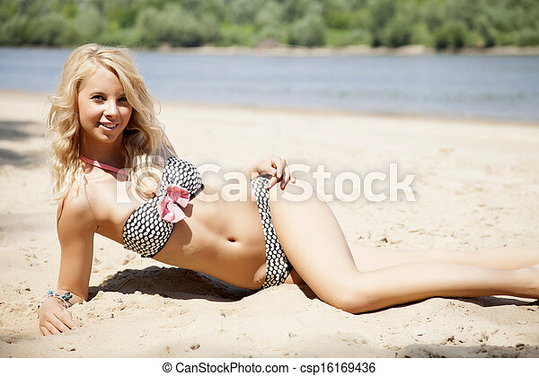 beautiful blonde woman in bikini  - csp16169436