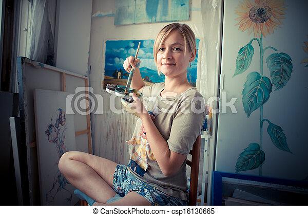 beautiful blonde woman painter - csp16130665