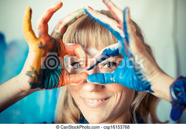 beautiful blonde woman painter - csp16153768