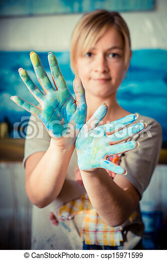 beautiful blonde woman painter - csp15971599