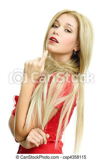 beautiful blonde woman portrait on white background - csp4358115