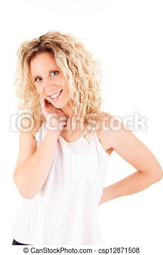 Beautiful blonde woman posing  - csp12871508