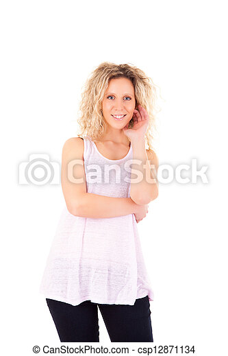 Beautiful blonde woman posing  - csp12871134