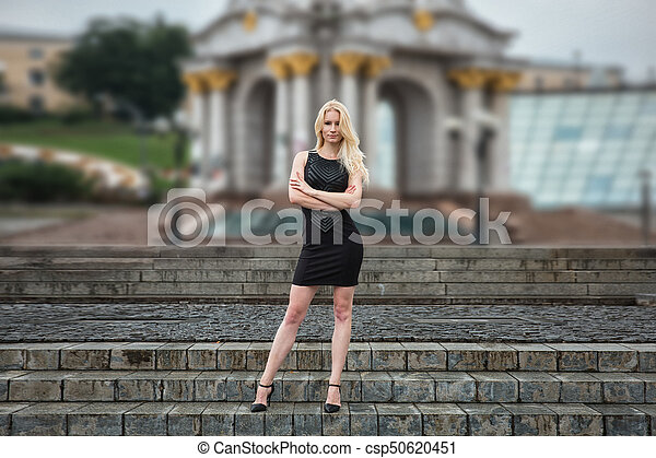 Quite tempting dress blonde outside photography