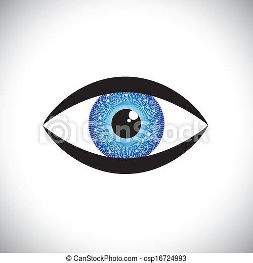 beautiful blue color human eye icon with tech circuit in iris - csp16724993