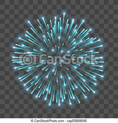 Beautiful blue firework  Bright salute isolated transparent background   Light blue decoration firework for Christmas, New Year celebration,  holiday,