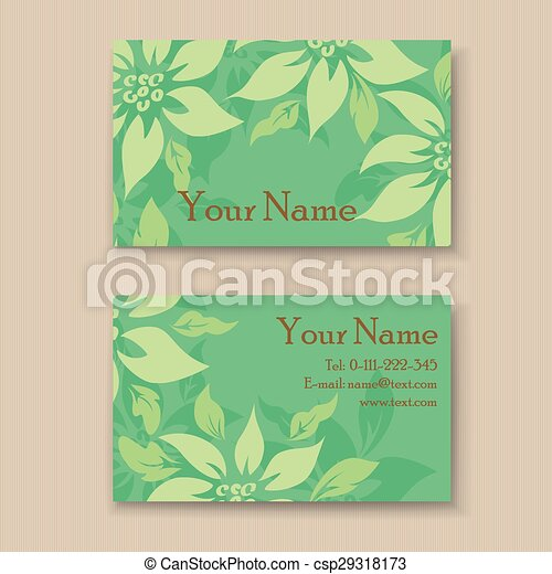 Beautiful blue floral business card template beautiful blue floral business card csp29318173 wajeb Images