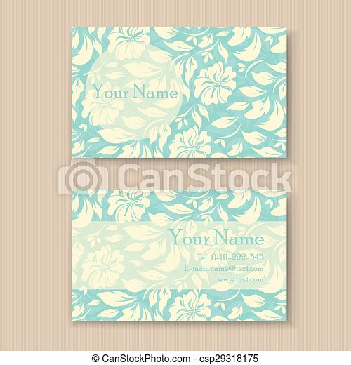 Beautiful blue floral business card template vectors illustration beautiful blue floral business card csp29318175 flashek Choice Image