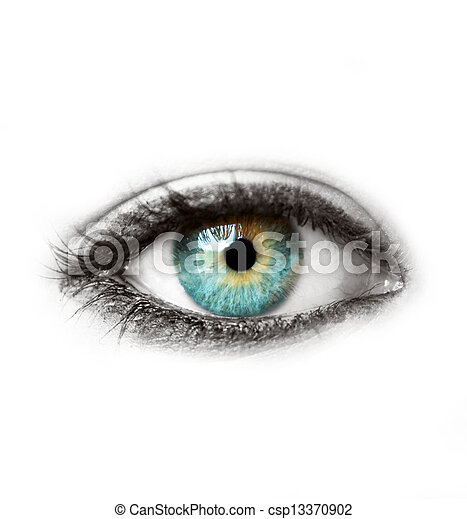 Beautiful blue human eye isolated on white macro shot - csp13370902
