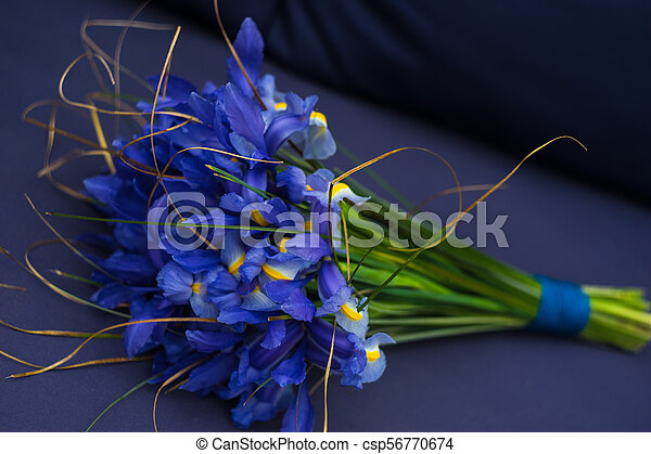 Beautiful Blue Iris Flowers In A Bouquet Beautiful Blue Mini Irises In A Bouquet On Rustic Background With Copy Space Canstock