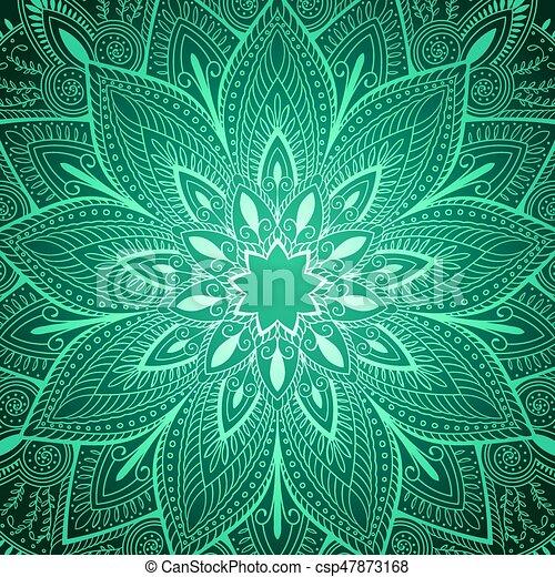 beautiful blue mandala floral background - csp47873168