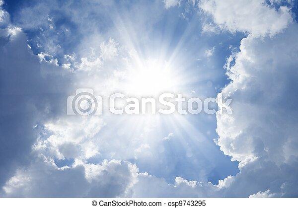 Beautiful blue sky with bright sun - csp9743295