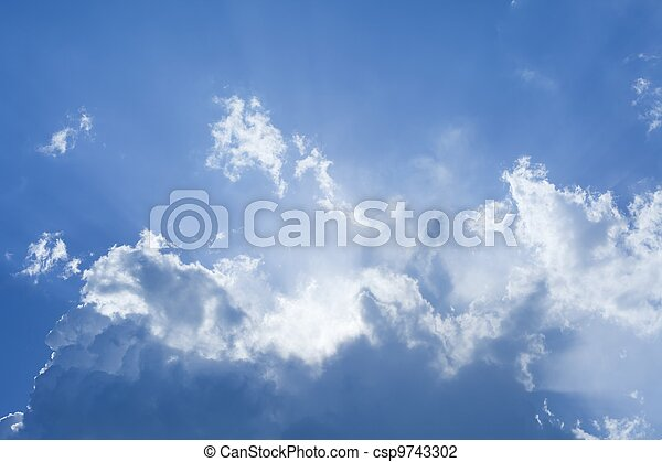 Beautiful blue sky with bright sun - csp9743302