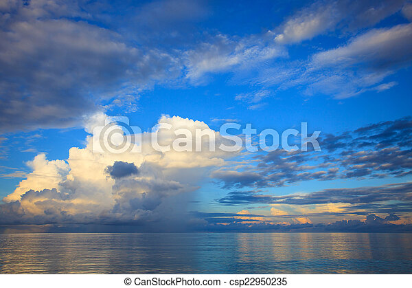 beautiful blue sky with cloud scape over blue ocean use as natur - csp22950235
