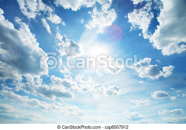 Beautiful blue sky with white clouds - csp6507912