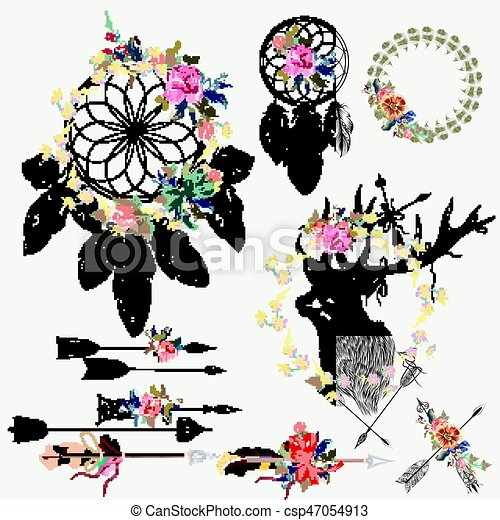 Beautiful Boho Elements Collection Deer Arrows Dreamcatcher Feathers And Flowers With Tapes For Vector