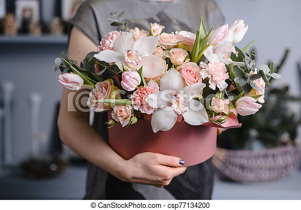 beautiful bouquet made of different flowers. colorful color mix flowers - csp77134200