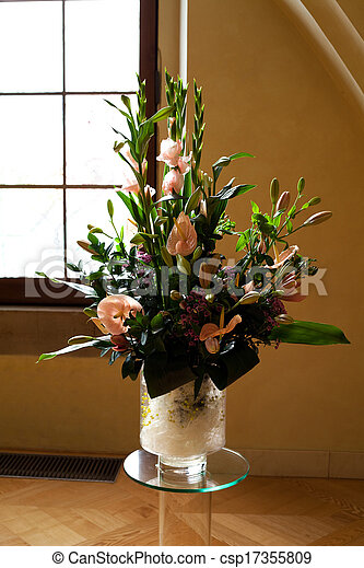 beautiful bouquet of flowers in a vase - csp17355809
