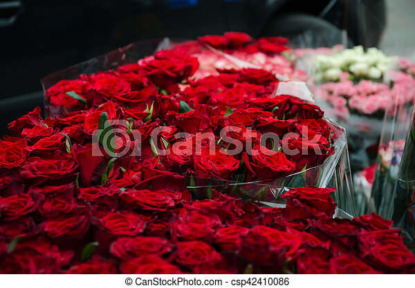Beautiful Bouquet Of Red Roses Armful Of Flowers With Beautiful Red