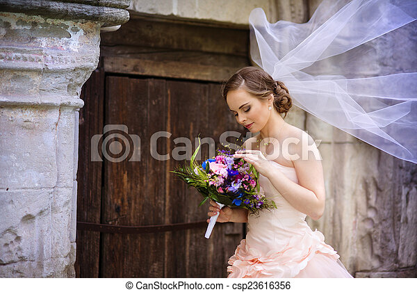 Beautiful bride in veil - csp23616356