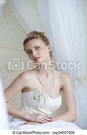 Beautiful bride in white wedding dress  - csp34507006