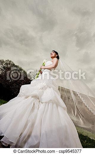 Beautiful bride standing outdoors - csp9545377