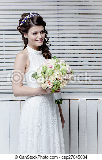 Beautiful bride with flowers - csp27045034