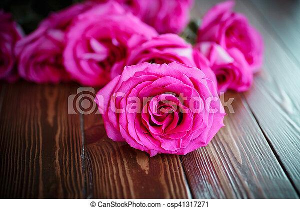 beautiful bright pink roses - csp41317271