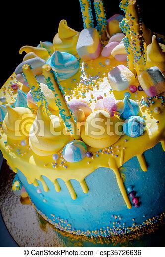 Beautiful Bright Sweet Tasty Birthday Cake