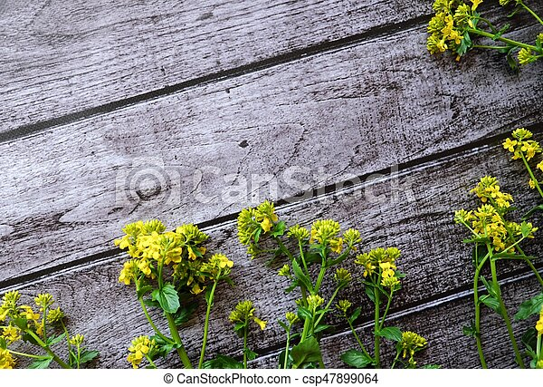 Beautiful brown background with yellow wildflowers - csp47899064