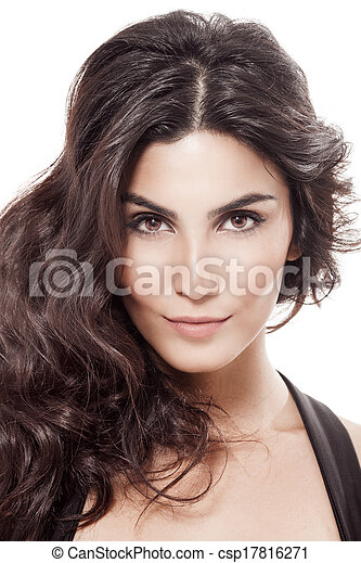 Beautiful Brunette Girl. Healthy Long Hair. White Background  - csp17816271