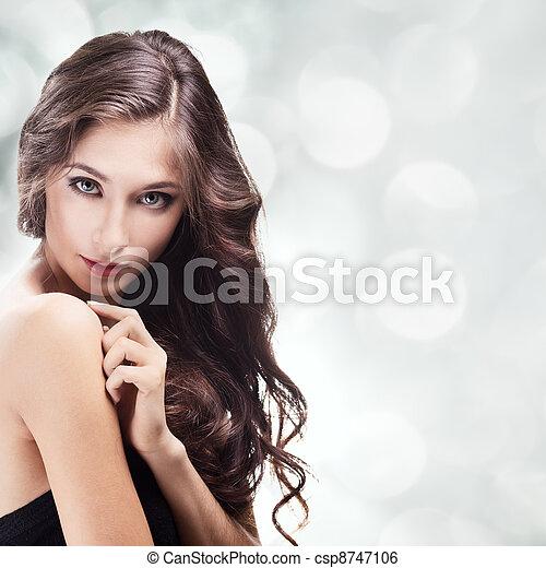 Beautiful Brunette Girl. Healthy Long Hair  - csp8747106
