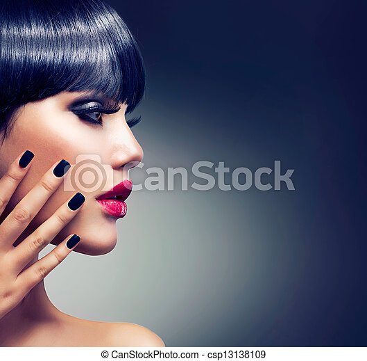 Beautiful Brunette Girl Portrait. Face. Makeup. Sensual Red Lips  - csp13138109