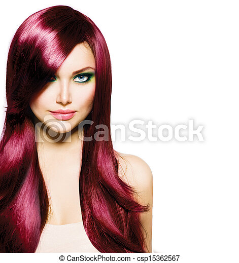 Beautiful Brunette Girl with Healthy Long Hair and Blue Eyes - csp15362567