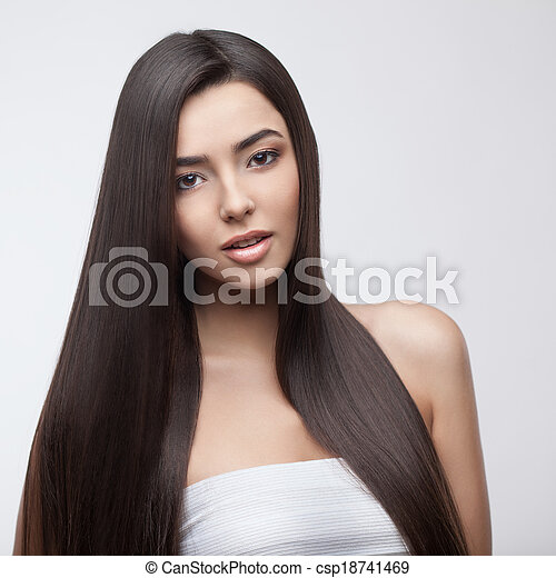 Beautiful Brunette Girl with Healthy Long Hair - csp18741469
