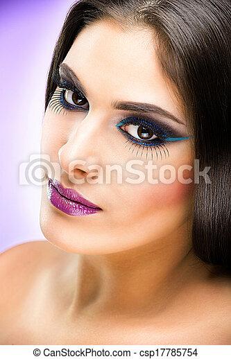 Beautiful Brunette Girl with luxury makeup - csp17785754