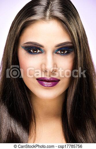 Beautiful Brunette Girl with luxury makeup - csp17785756