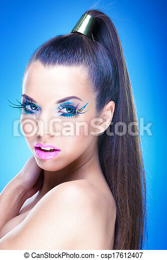 Beautiful Brunette Girl with luxury makeup - csp17612407