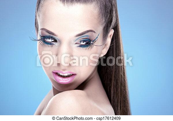 Beautiful Brunette Girl with luxury makeup - csp17612409