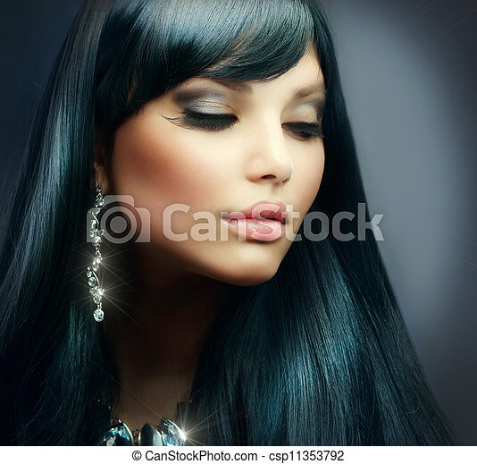 Beautiful Brunette . Healthy Long Hair and Holiday Makeup - csp11353792