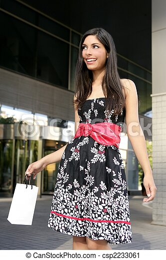 Beautiful brunette shopaholic outdoor city - csp2233061