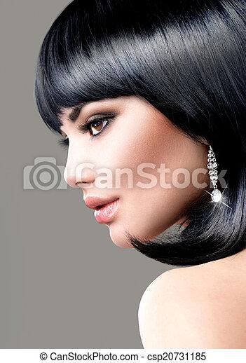 Beautiful Brunette Woman. Bob Haircut. Short hair - csp20731185