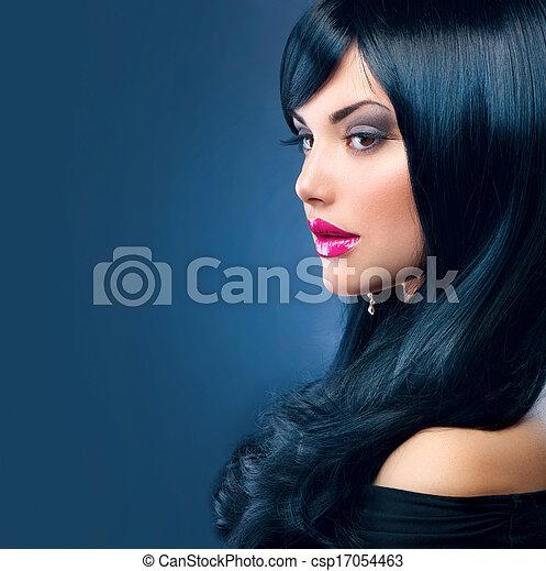 Beautiful Brunette Woman. Healthy Long Black Hair - csp17054463