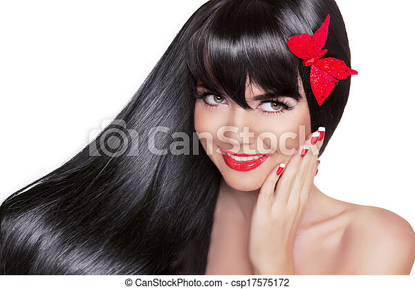 Beautiful Brunette Woman with Healthy Long Black Hair. Beauty Glamour Fashion portrait of happy smiling girl model with bright holiday makeup isolated on white background. - csp17575172