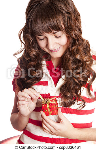Beautiful brunette woman with present box. - csp8036461